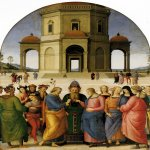 Pietro Perugino (1445-1523)  Marriage of the Virgin  Oil on wood, 1500-1504  92 1/8 x 72 3/4 inches (234 x 185 cm)  Musée des Beaux-Arts, Caen, France