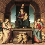 Pietro Perugino (1445-1523)  The Family of the Madonna  Oil on wood, 1500-1502  116 1/2 x 101 7/8 inches (296 x 259 cm)  Musée des Beaux-Arts, Marseilles, Provence, France