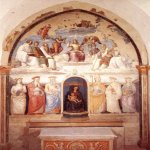 Pietro Perugino (1445-1523)  Trinity and Six Saints  Fresco, 1521  68 7/8 x 153 1/8 inches (175 x 389 cm)  Chiesa di San Severo, Perugia, Italy
