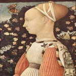 Pisanello or Antonio Pisano (about 1394/95 – 1455)  Portrait of Princess  1435-1449  Tempera on panel, 43 cm × 30 cm (17 in × 12 in)  Louvre, Paris, France