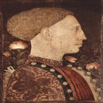 Pisanello or Antonio Pisano (about 1394/95 – 1455)  Portrait of Lionello d\'Este  about 1438-1442  Tempera on wood, 28 × 19 cm  Galleria dell\'Accademia Carrara, Bergamo, Italy