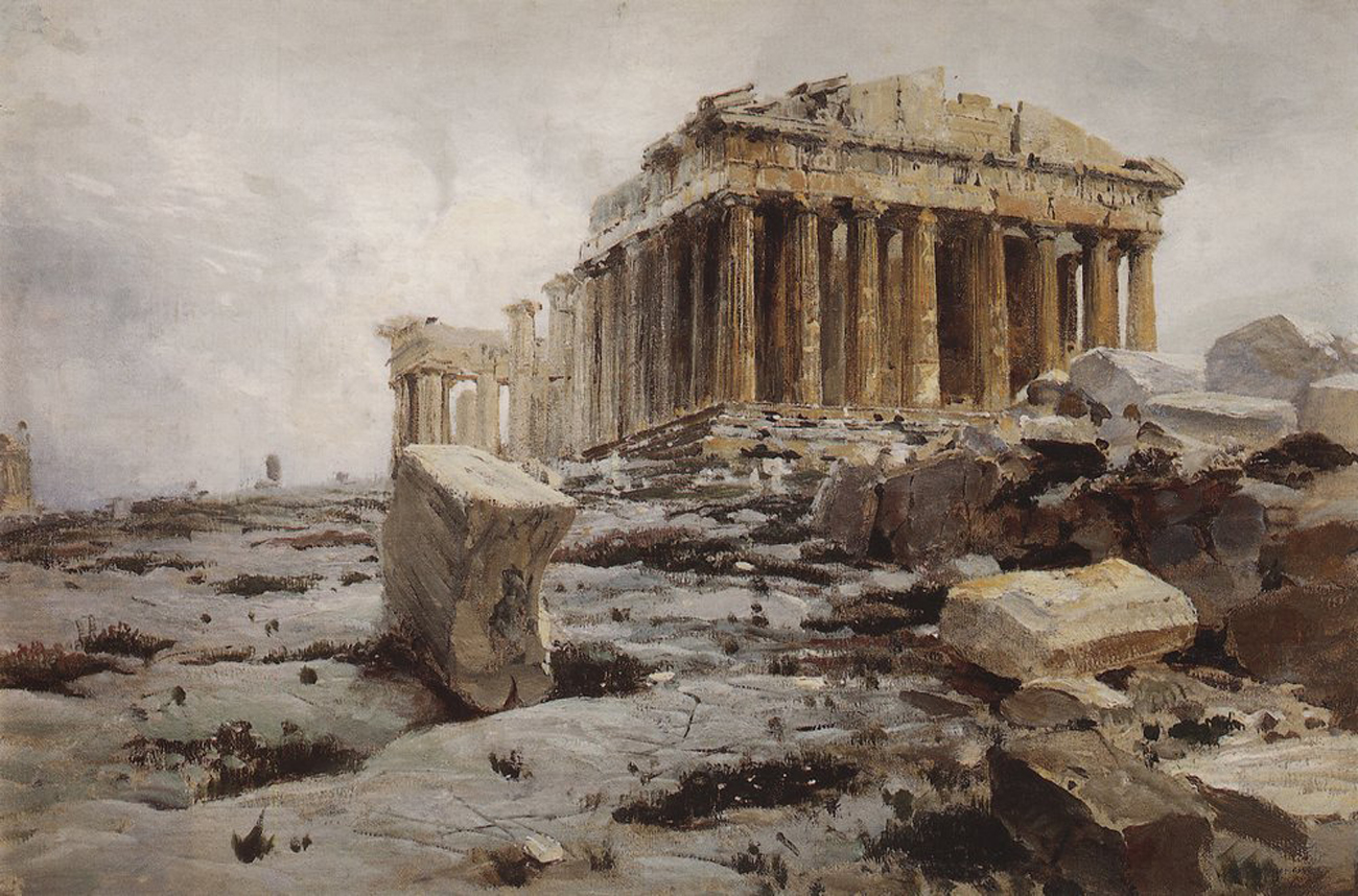 The parthenon the epitome of the doric order - Vasily Dmitrievich Polenov 1844 1927 The Parthenon Temple Of Athena Pallas