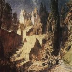 Vasily Dmitrievich Polenov (18441927)  Castle. Sketch for the scenery, 1883  Watercolour on paper  The  State Art Museum Abramtzevo, Moscow region, Russia