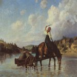 Vasily Dmitrievich Polenov (1844�1927)  Crossing of the River Oyat, 1872  Oil on canvas  Museum-Estate of V. Polenov, Tula region, Russia.