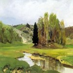 Vasily Dmitrievich Polenov (1844—1927)  River Svinka near Aleksin, 1900-s  Oil on canvas  State historic, artistic and natural museum-reserve VD Polenov, Tula region, Russia
