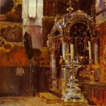 Vasily Dmitrievich Polenov (1844—1927)  The Shrine of the Metropolitan Iona in the Uspensky Cathedral, 1877  Oil on canvas  The Tretyakov Gallery, Moscow, Russia