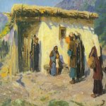 Vasily Dmitrievich Polenov (1844—1927)  They Brought the Children, 1890-1900-s   Oil on canvas  Samara Art Museum, Russia