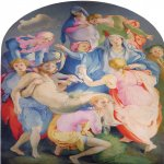 Jacopo Pontormo (1494 – 1557)  The Deposition the Cross  Oil on wood, circa 1525–1528  313 cm × 192 cm (123 in × 76 in)  Church of Santa Felicita, Florence, Italy