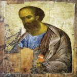 Andrei Rublev (c. 1360/70-1430)  Apostle Paul  Tempera on wood, 1408  160 х 109 cm  The Tretyakov Gallery, Moscow, Russia  The right icon  three icons in Zvenigorod:   The Saviour, Archa ngel Michael, Apostle Paul
