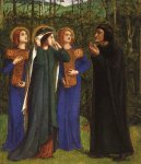 Dante Gabriel Rossetti (1828-1882)  The Meeting of Dante and Beatrice in Paradise  Watercolor on paper, 1853-1854  Musee des Arts Decoratifs, Paris, France