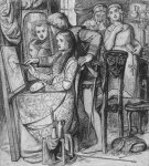 Dante Gabriel Rossetti (1828-1882)  A Parable of Love  Pen and black ink with ink was, 1849-1850  17.5 x 19.3 cm (6.89