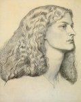 Dante Gabriel Rossetti (1828-1882)  Portrait of Anne Miller  Gray wash  22.9 x 28.6 cm (9.02