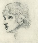 Dante Gabriel Rossetti (1828-1882)  Head of a Youth  Charcoal with white chalk heig  36.8 x 41 cm (14.49