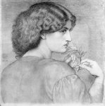 Dante Gabriel Rossetti (1828-1882)  The Roseleaf  Pencil on paper, c1865  Private collection
