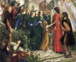 Dante Gabriel Rossetti (1828-1882)  Beatrice, Meeting Dante at a Wedding Feast, Denies him her Salutation  Watercolor on paper, 1855  42 x 34 cm (16.54