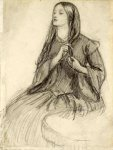 Dante Gabriel Rossetti (1828-1882)  Elizabeth Siddall Plaiting her Hair  Pencil on paper  12.7 x 17.1 cm (5