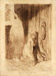 Dante Gabriel Rossetti (1828-1882)  Faust: Margaret in the Church  Pencil on paper, 1848  12.1 x 17.8 cm (4.76