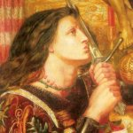 Dante Gabriel Rossetti (1828-1882)  Joan of Arc  Oil on panel, 1863  Public collection