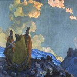 Nikolai Konstantinovich Roerich (1874-1947)  Crowns  Oil on canvas, 1914  75 x 119  cm  Kiev State Museum of Russian Art, Ukraine