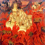 Nikolai Konstantinovich Roerich (1874-1947)  Fairest City is the Enemies' Vexation  Oil tempera on panel, 1912  71,5 x 92,3 cm  Museum by name of Nicholas Roerich, ICR, Moscow, Russia