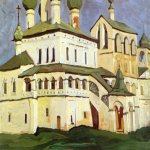 Nikolai Konstantinovich Roerich (1874-1947)  Uglich. Monastery of the Resurrection.   �Studies  journey through old Russian towns�  Oil on panel, 1904  46 x 83  cm  State Russian Museum, St. Petersburg, Russia