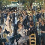Pierre-Auguste Renoir (1748 – 1825)  Bal du moulin de la Galette (Smaller version)  Oil on canvas, 1876  78 cm × 114 cm (31 in × 45 in)  Private collection
