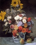 "Pierre Auguste Renoir (1841-1919) Mixed Flowers In An Earthware Pot Oil on canvas 1869 54.2 x 64.9 cm (21.34"" x 25.55\"") Private collection"