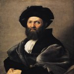 Raphael Sanzio (Italian: Raffaello) (1483 - 1520)  Portrait of Baldassare Castiglione  Oil on canvas, 1514-1515  82 cm × 67 cm (32 in × 26 in)  Louvre, Paris, France