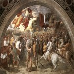 Raphael Sanzio (Italian: Raffaello) (1483 - 1520)  The Meeting of Leo the Great and Attila  Fresco, 1514  ? cm × 750 cm (?? × 300 in)  Apostolic Palace, Vatican City, Rome, Italy