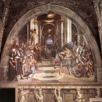 Raphael Sanzio (Italian: Raffaello) (1483 - 1520)  The Expulsion of Heliodorus the Temple  Fresco, 1511-1512  ? cm × 750 cm (?? × 300 in)  Apostolic Palace, Vatican City, Rome, Italy