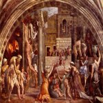 Raphael Sanzio (Italian: Raffaello) (1483 - 1520)  The Fire in the Borgo  Fresco, 1514  ? cm × 670 cm (?? × 260 in)  Apostolic Palace, Vatican City, Rome, Italy