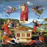 Raphael Sanzio (Italian: Raffaello) (1483 - 1520)  Resurrection of Christ  Oil on panel, 1499-1502  52 cm × 44 cm (20.47 in × 17.32 in)  São Paulo Museum of Art, São Paulo, Brazil