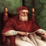 Raphael Sanzio (Italian: Raffaello) (1483 - 1520)  Portrait of Pope Julius II  Oil on wood, 1511-1512  108 cm × 80,7 cm (43 in × 318 in)  National Gallery, London, England