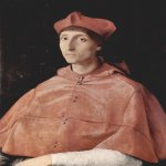 Raphael Sanzio (Italian: Raffaello) (1483 - 1520)  Portrait of a Cardinal  Oil on wood, 1510  79 cm × 61 cm (31 in × 24 in)  Museo del Prado, Madrid, Spain
