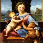 Raphael Sanzio (Italian: Raffaello) (1483 - 1520)  Aldobrandini Madonna  Oil on wood, 1510  38.7 cm × 32.7 cm (15¼ in × 12⅞ in)  National Gallery, London, England