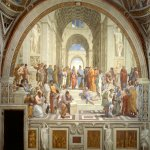 Raphael Sanzio (Italian: Raffaello) (1483 - 1520)  The School of Athens  Fresco, 1509-1510  500 cm × 770 cm (200 in × 300 in)  Apostolic Palace, Rome, Vatican City