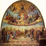 Raphael Sanzio (Italian: Raffaello) (1483 - 1520)  Disputation of the Holy Sacrament  Fresco, 1509-1510  500 cm × 770 cm (200 in × 300 in)  Apostolic Palace, Rome, Vatican City