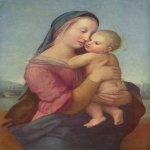 Raphael Sanzio (Italian: Raffaello) (1483 - 1520)  Tempi Madonna  Oil on wood, 1508  75 cm × 51 cm (30 in × 20 in)  Alte Pinakothek, Munich, Germany