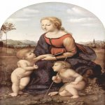 Raphael Sanzio (Italian: Raffaello) (1483 - 1520)  La belle jardinière  Oil on panel, 1507  122 cm × 80 cm (48 in × 31 1/2 in)  Louvre, Paris, France