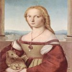 Raphael Sanzio (Italian: Raffaello) (1483 - 1520)  Young Woman with Unicorn  Oil on panel, 1506  65 cm × 61 cm (26 in × 24 in)  Galleria Borghese, Rome, Italy
