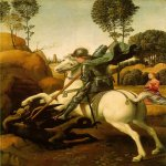 Raphael Sanzio (Italian: Raffaello) (1483 - 1520)  Saint George and the Dragon  Oil on wood, 1504-1505  28,5 cm × 21,5 cm (112 in × 85 in)  National Gallery of Art, Washington, D.C., USA