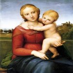 Raphael Sanzio (Italian: Raffaello) (1483 - 1520)  Small Cowper Madonna  Oil on panel, 1505  59.5 cm × 44 cm (23.4 in × 17 in)  National Gallery of Art, Washington, D.C., USA