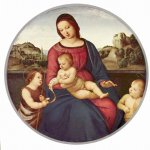 Raphael Sanzio (Italian: Raffaello) (1483 - 1520)  Madonna Terranuova  Oil on wood, 1504-1505  87 cm diameter (34 in)  Staatliche Museen, Berlin, Germany