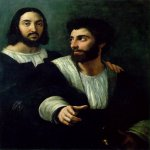 Raphael Sanzio (Italian: Raffaello) (1483 - 1520)  Self-Portrait with a Friend (Double Portrait)  Oil on canvas, 1518-1519  99 cm × 83 cm (39 in × 33 in)  Louvre, Paris, France