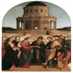 Raphael Sanzio (Italian: Raffaello) (1483 - 1520)  The Marriage of the Virgin  Oil on roundheaded panel, 1504	  170 cm × 118 cm (67 in × 46 in)  inacoteca di Brera, Milan, Italy