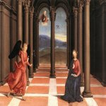 Raphael Sanzio (Italian: Raffaello) (1483 - 1520)  The annunciation  Tempera grassa (egg-oil) on canvas, 1502-1504  27 × 50 cm (10.63 × 19.68 in)  Vatican Pinacoteca, room VIII, Vatican City, Italy