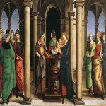 Raphael Sanzio (Italian: Raffaello) (1483 - 1520)  The presentation in the temple   Tempera grassa (egg-oil) on canvas, 1502-1504  27 × 50 cm (10.63 × 19.68 in)  Vatican Pinacoteca, room VIII, Vatican City, Italy