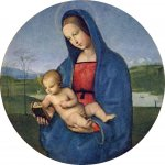 Raphael Sanzio (Italian: Raffaello) (1483 - 1520)  Conestabile Madonna  Tempera on canvas transferred  wood, 1502-1504  17.5 cm × 18 cm (6.9 in × 7.1 in)  Hermitage Museum, Saint Petersburg, Russia
