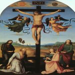 Raphael Sanzio (Italian: Raffaello) (1483 - 1520)  Mond Crucifixion (Crucifixion with the Virgin, Saints and Angels)  Oil on poplar, 1502–1503  283.3 cm × 167.3 cm (111.5 in × 65.9 in)  National Gallery, London, United Kingdom