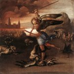 Raphael Sanzio (Italian: Raffaello) (1483 - 1520)  St. Michael  Oil on wood, c. 1505  31 cm × 27 cm (12 in × 11 in)  Louvre, Paris, France